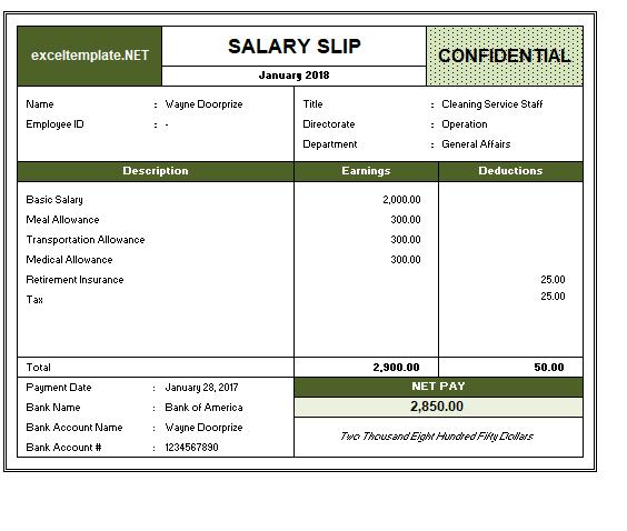 Salary Slip Example