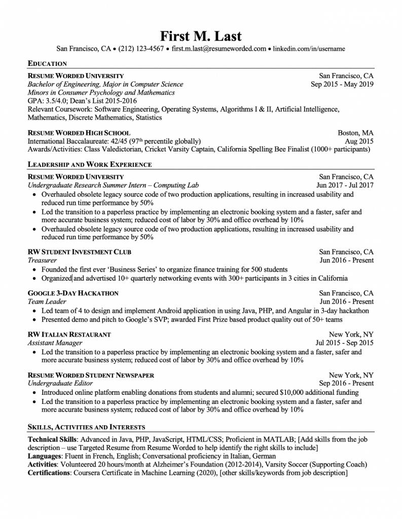 Examples of CV ATS Friendly