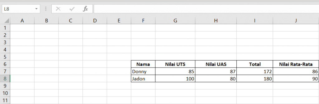 Excel Formula: Average 2