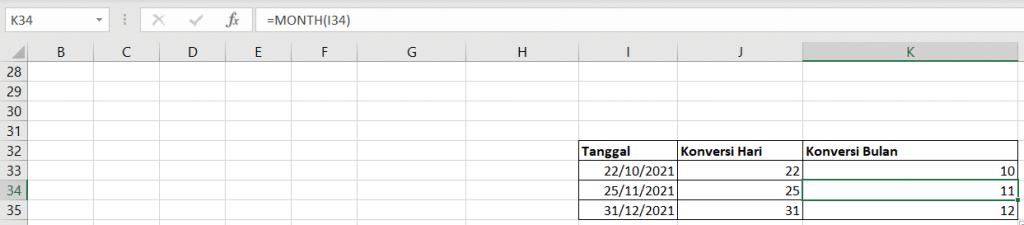Excel Formula: MONTH