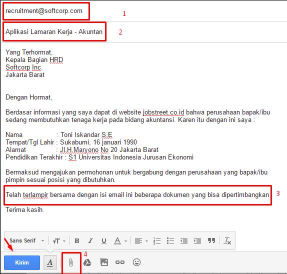 contoh surat lamaran email