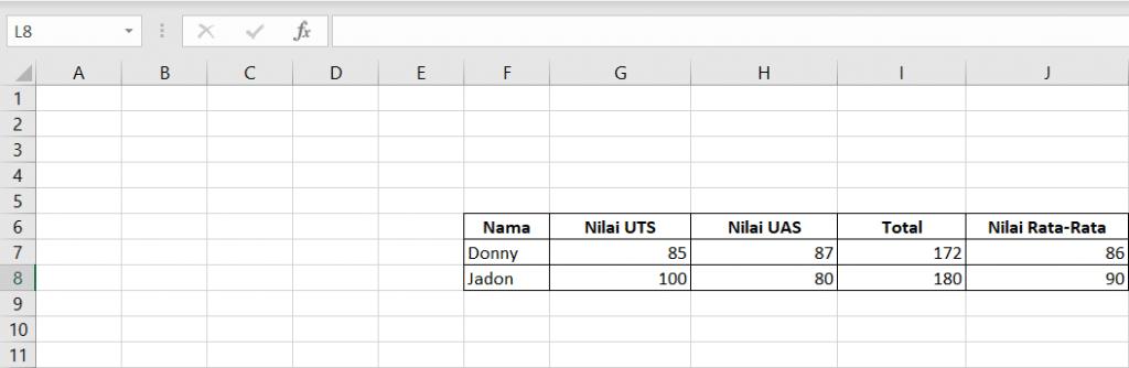 Rumus Excel AVERAGE 2