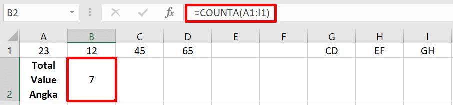Rumus Excel COUNTA
