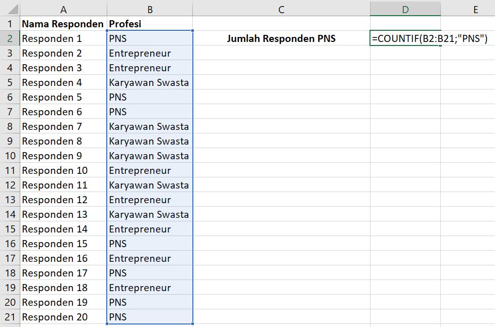 Rumus Excel COUNTIF