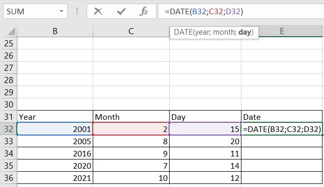 Rumus Excel DATE